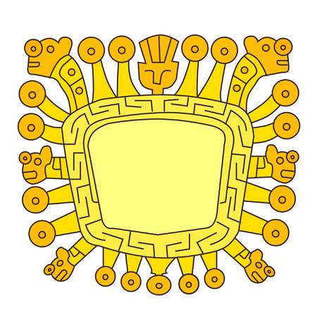 잉카 아이콘입니다. Viracocha는 잉카 신화의 위대한 창조자 신입니다.