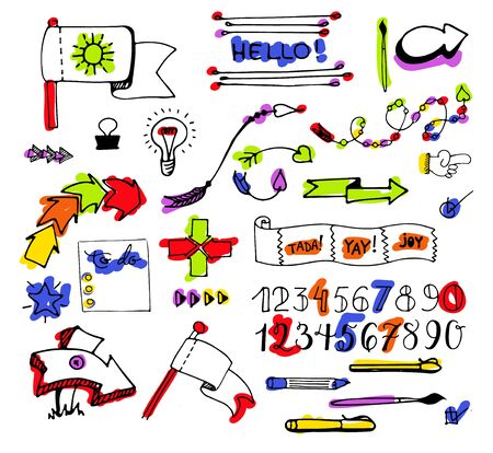 Vector hand drawn set on white background of elements: arrows, banners, words, list, brushes, pens, figures Çizim