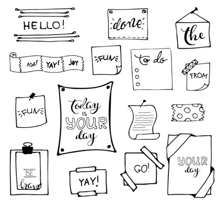 Set of hand drawn paper notes in vector. set  of hand drawn isolated doodle notepaper for messages.