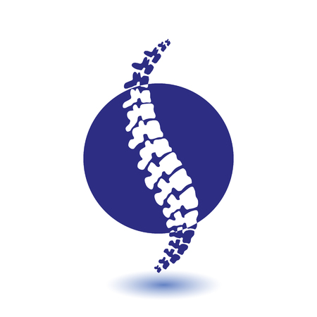 Vector human spine isolated silhouette illustration. Spine pain medical center, clinic, institute, rehabilitation, diagnostic, surgery element. Spinal icon symbol design. Concept of scoliosis Illustration