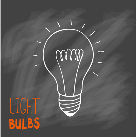Light bulbs icon. Concept of big ideas inspiration, innovation, invention, effective thinking. CFL lamp.  Isolated. Vector illustration.  Idea symbol. Vector. sketch. Sign. On chalk background. Illustration