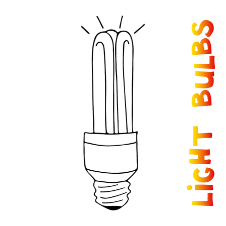 Light bulbs icon. Concept of big ideas inspiration, innovation, invention, effective thinking. CFL lamp.  Isolated. Vector illustration.  Idea symbol. Vector. sketch . Hand-drawn doodle sign.