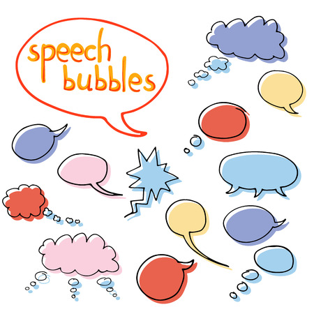 Vector set of cartoon hand drawn speech and thought communication bubbles. Isolated. outline. doodle. Colorful. Vettoriali
