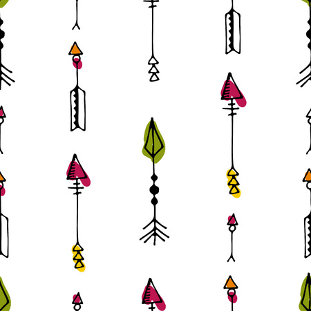 Tribal vintage black arrows on white background. Seamless vector graphic colorful pattern. native american style. For web page , pattern fill, wallpaper, card, textile. Hand drawn. Sketch.Doodle.Red.