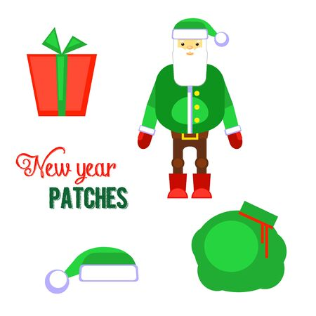 Funny green santa claus, hat, gift vector illustration. Christmas cartoon sticker design. Decorative stickers for your greeting, posters,postcards, invitations, patches and prints, emblems Illustration