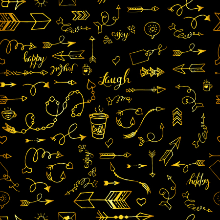 Tribal vintage gold arrows on black background. Seamless vector graphic pattern in native american style. For web page background, pattern fill, wallpaper, card, textile. Hand drawn. Sketch.Doodle. Illustration