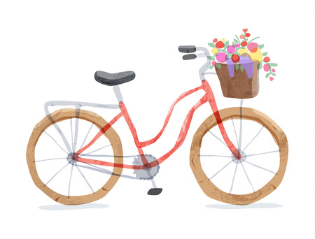 Vector illustration of retro bicycle. Types of bike: road bicycle, city, urban bike, old, cruiser. Vintage bicycle in watercolor style. Bike for girl with wooden basket, crate full of flowers.
