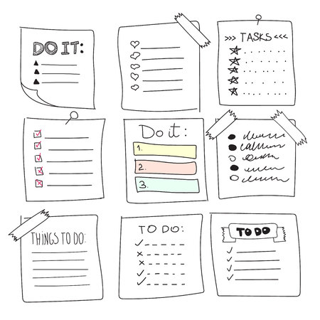 Collection of vector isolated outline hand drawn check to do list, bullet, check mark and check box in a doodle sketch cartoon style. Set of paper note with task plan and tape. Vettoriali