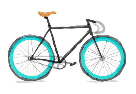 Vector illustration of road bicycle. Types: road, city, urban, fix. Bright bicycle in watercolor style. isolated. Vector flat modern urban, town and city bicycle.