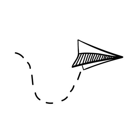 Hand getrokken doodle vector papieren vliegtuigje. Reizen, routesymbool. Vectorillustratie van hand getrokken papieren vliegtuigje. Geïsoleerd. Outline. Zwart lineair papieren vliegtuigje pictogram Stock Illustratie