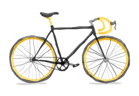 Vector illustration of road bicycle. Types: road , city, urban, fix . Bright bicycle in watercolor style. isolated. Vector flat modern urban, town and city bicycle.