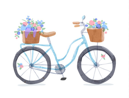 Vector illustration of blue retro bicycle. Types of bike: road bicycle, city, urban bike, old, cruiser. Vintage bicycle in watercolor style. Bike for girl with wooden basket, crate full of flowers. Illustration