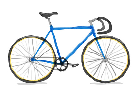 Vector illustration of road bicycle. Bright bicycle in watercolor style. isolated. Vector flat modern urban, town and city bicycle.
