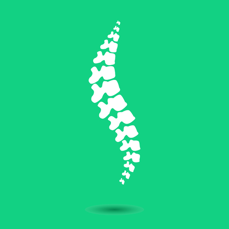 Human spine isolated on a green background. Vector illustration. White silhouette spine diagnostic symbol, design, sign. Diagnostic center vector human spine silhouettes Spine.