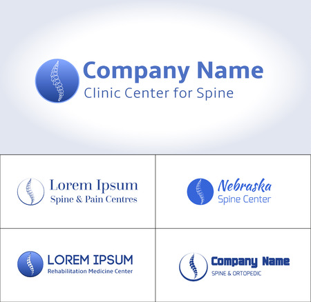 Vector template. Spine pain medical center, clinic, institute, rehabilitation, diagnostic, surgery, spinal icon symbol design. Concept of scoliosis. isolated. flat modern silhouette illustration