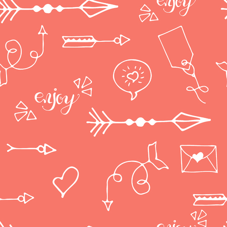 Tribal vintage black arrows on white background. Seamless vector graphic colorful pattern. native american style. For web page , pattern fill, wallpaper, card, textile. Hand drawn. Sketch.Doodle.Red