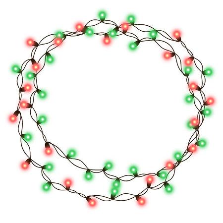 暗い背景に分離されたサークル図形とテキスト領域でクリスマス ツリー文字列ガーランド。透明性と現実的な新年パーティーの装飾のベクター イラ