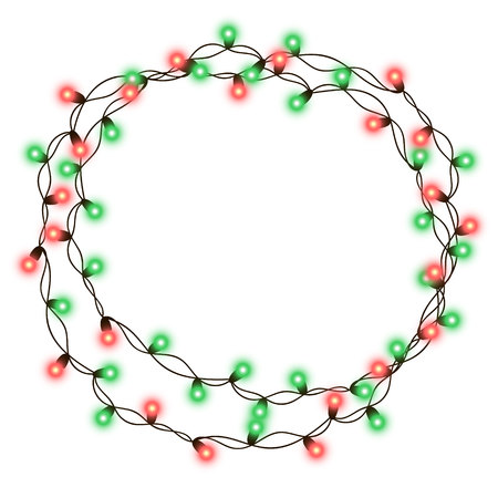 Christmas tree string garland in circle shape and text space isolated on dark background. Vector illustration of realistic New Year party decoration with transparency. Light bulb decor. Lights border