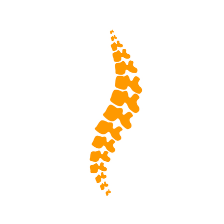 Vector human spine isolated silhouette illustration. Spine pain medical center, clinic, institute, rehabilitation, diagnostic, surgery  element. Spinal icon symbol design.