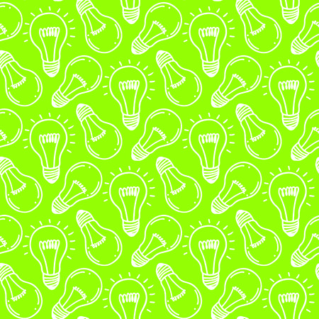 Lamp light bulb hand drawn seamless pattern design. Light bulbs icon. Concept of big ideas inspiration, innovation.  Isolated. Vector illustration.  Idea symbol. Vector. sketch. Hand-drawn doodle sign. Illustration
