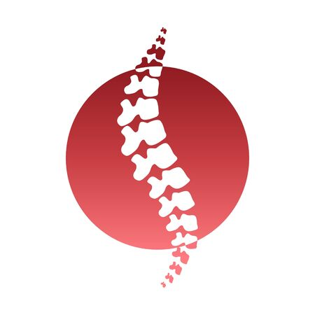 Vector human spine isolated silhouette illustration. Spine pain medical center, clinic, institute, rehabilitation, diagnostic, surgery  element. Spinal icon symbol design. Concept of scoliosis