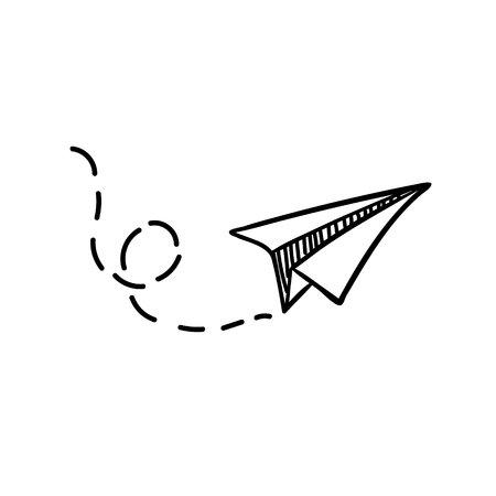 Vector papieren vliegtuigje. Reizen, routesymbool. Vectorillustratie van hand getrokken papier vliegtuig. Geïsoleerd. Outline. Hand getrokken doodle vliegtuig. Zwarte lineaire papier vlakpictogram