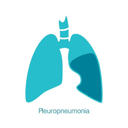 Vector silhouette medical illustration of human body organ - lungs with trachea. Logo template for clinic, hospital. Symbol for pleuro pneumonia, tuberculosis. Health care of respiratory system