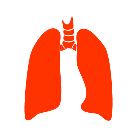Vector silhouette medical illustration of human body organ - lungs with trachea. Logo template for clinic, hospital. Symbol for asthma, tuberculosis, pneumonia. Health care of respiratory system Logo