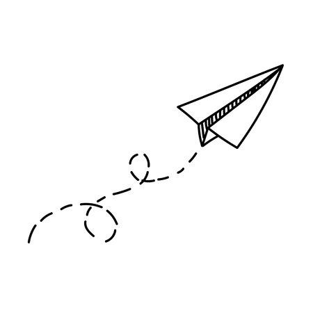 Avião de papel de vetor. Viajar, símbolo de rota. Ilustração do vetor do plano de papel desenhado mão. Isolado. Esboço. Avião de doodle desenhado de mão. Ícone de avião de papel linear preto Ilustración de vector
