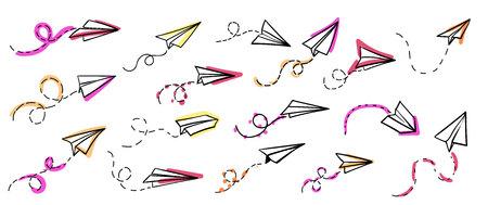 ベクトルの紙飛行機。旅行、ルート記号。手の描かれた紙飛行機のベクトル イラストのセットです。分離されました。概要。手描き落書きの飛行機