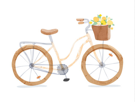 Vector illustration of retro yellow bicycle. Types of bike: road bicycle, city, urban bike, old, cruiser. Vintage bicycle in watercolor style. Bike for girl with wooden basket, crate full of flowers Illustration