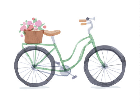 Vector illustration of green retro bicycle. Types of bike: road bicycle, city, urban bike, old, cruiser. Vintage bicycle in watercolor style. Bike for girl with wooden basket, crate full of flowers.