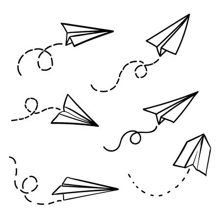 Aeroplano di carta vettoriale. Viaggio, simbolo del percorso. Insieme dell'illustrazione di vettore dell'aereo di carta disegnato a mano. Isolato. Contorno. Aeroplano di doodle disegnato a mano. Icona del piano di carta lineare nera. Vettoriali