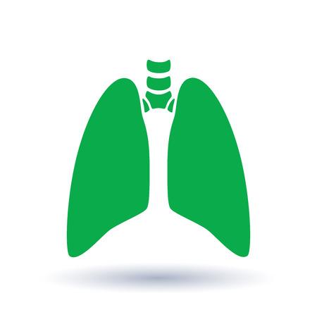 Vector a ilustração médica da silhueta do órgão do corpo humano - pulmões com traqueia. Modelo de logotipo para clínica, hospital. Símbolo para asma, tuberculose, pneumonia. Cuidados de saúde do sistema respiratório.