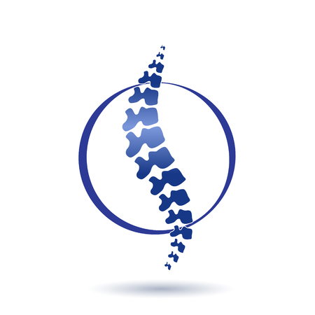 Vector  human spine isolated silhouette illustration. Spine pain medical center, clinic, institute, rehabilitation, diagnostic, surgery logo element. Spinal icon symbol design. Concept of scoliosis Ilustracja