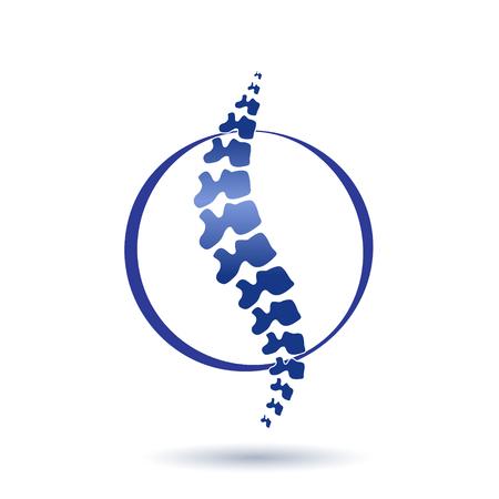 Vector menselijke stekel geïsoleerde silhouetillustratie. Rugpijn pijn medisch centrum, kliniek, instituut, revalidatie, diagnose, chirurgie logo-element. Spinal pictogram symbool ontwerp. Concept van scoliose Logo
