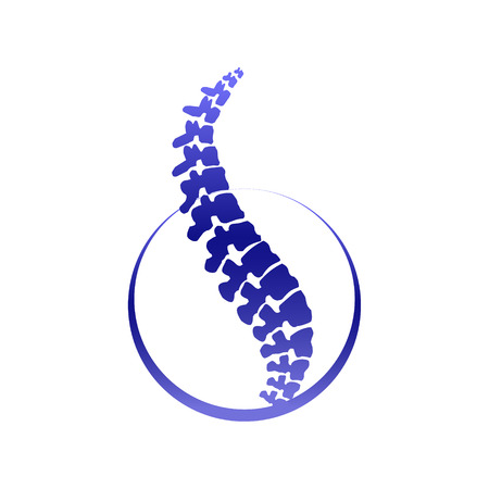 Vector  human spine isolated silhouette illustration. Spine pain medical center, clinic, institute, rehabilitation, diagnostic, surgery logo element. Spinal icon symbol design. Concept of scoliosis 일러스트