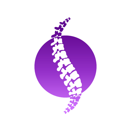 Vector  human spine isolated silhouette illustration. Spine pain medical center, clinic, institute, rehabilitation, diagnostic, surgery logo element. Spinal icon symbol design. Concept of scoliosis Illustration