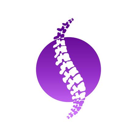 Vector menselijke stekel geïsoleerde silhouetillustratie. Rugpijn pijn medisch centrum, kliniek, instituut, revalidatie, diagnose, chirurgie logo-element. Spinal pictogram symbool ontwerp. Concept van scoliose
