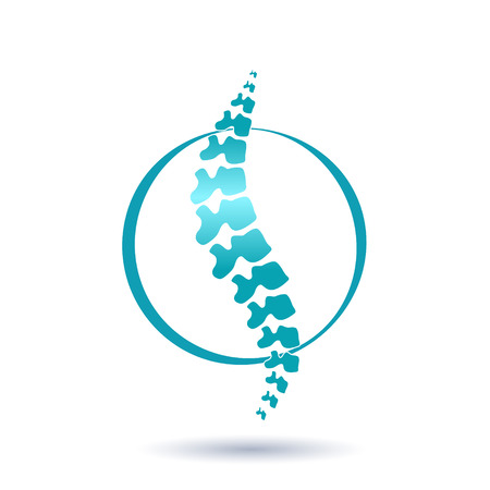 Vector human spine isolated silhouette illustration. Spine pain medical center, clinic, institute, rehabilitation, diagnostic, surgery logo element. Spinal icon symbol design. Concept of scoliosis Logo