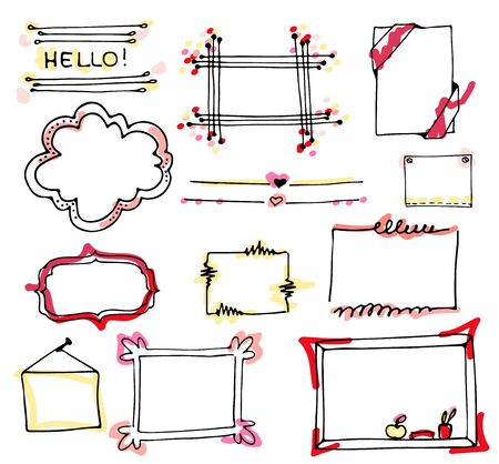 Vector hand drawn sketch set on chalk background of planning elements with white outline: arrow, banner, word, list, brush, pen, figure, number, note, cup, speech box. Doodle for design, logo, poster. Çizim