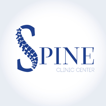 Human spine isolated on a white background. Vector illustration. Blue silhouette spine diagnostic symbol, design, sign. Vector human spine silhouettes Spine.Logo element Illustration
