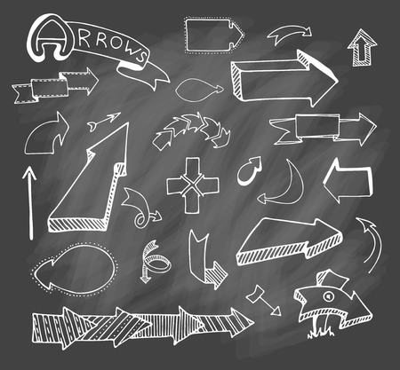Vector hand drawn set on grey chalk background of objects:arrow, banner, word, list, brush, pen, figure, check mark.Collection of elements in doodle style. Isolated. White outlines Çizim