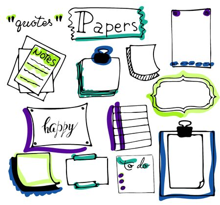 Set of hand drawn paper notes, lists, frames in vector. Set of hand drawn isolated doodle notepaper for messages. Collection of colorful elements in cartoon style. Isolated. Outline. Office supplies