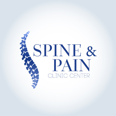 Human spine isolated on a white background. Vector illustration. Blue silhouette spine diagnostic symbol, design, sign. Vector human spine silhouettes Spine.Logo element  イラスト・ベクター素材