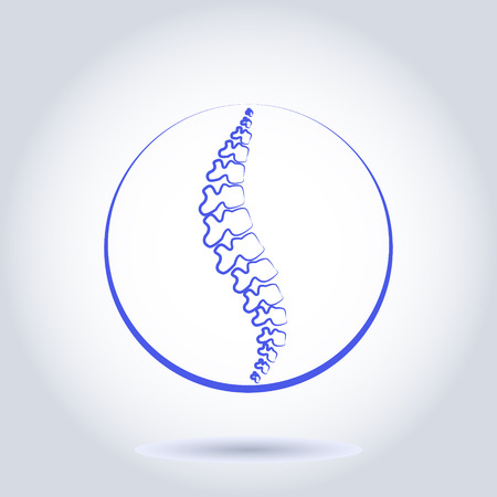 Human spine isolated on a white background. Vector illustration. Blue silhouette spine diagnostic symbol, design, sign. Vector human spine silhouettes Spine.Logo element.