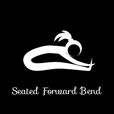 Seated Forward Bend, Yoga Position. Çizim