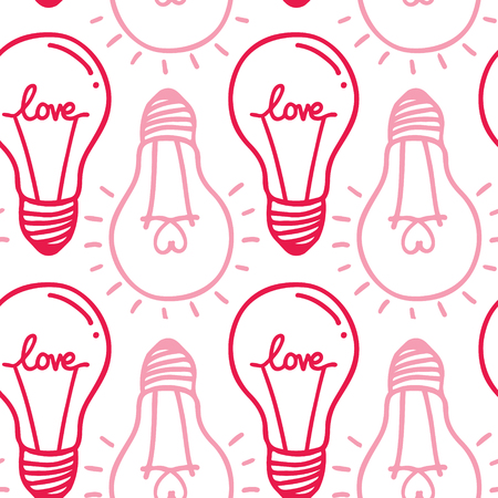 Hand drawn seamless pattern of light bulb with heart Vector illustration.