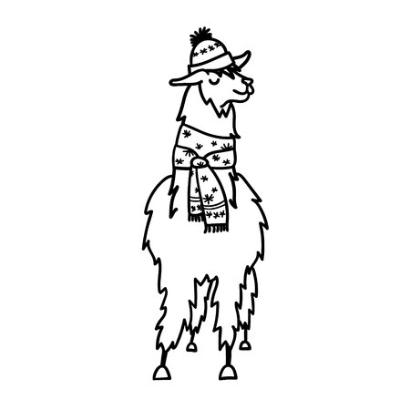 冬の帽子とスカーフでかわいいキャラクター南米・ ラマのベクター イラストです。