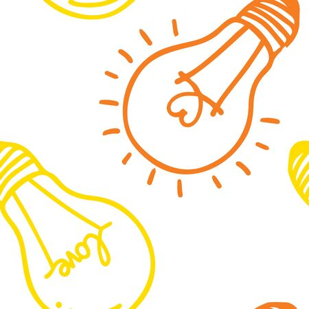 Hand drawn seamless pattern of light bulb Vector illustration.